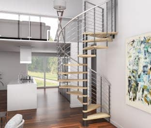 adjustable spiral stair kit with wood treads