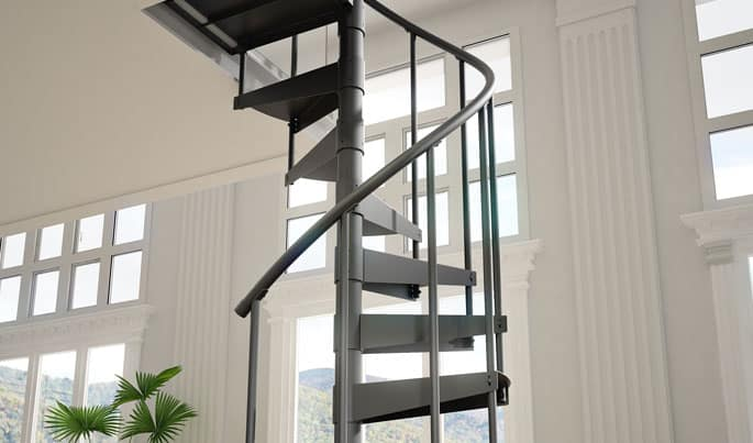 primed steel spiral staircase