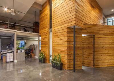lobby with wood panel walls at Exscape Designs in Newbury