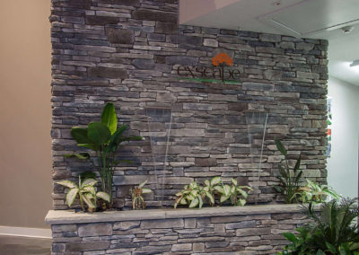 stone wall with tropical plants and Exscape Designs sign
