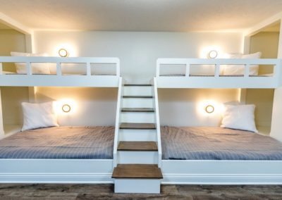 custom double bunk beds with center staircase