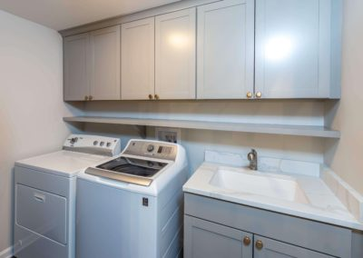 laundry room remodel with gray cabinets and sink