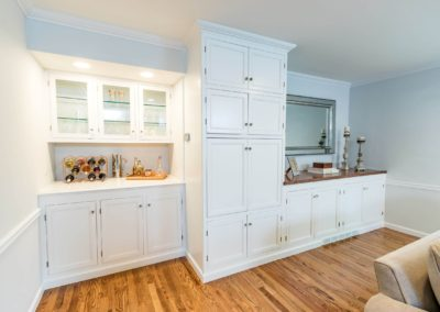 master suite white built in cabinets