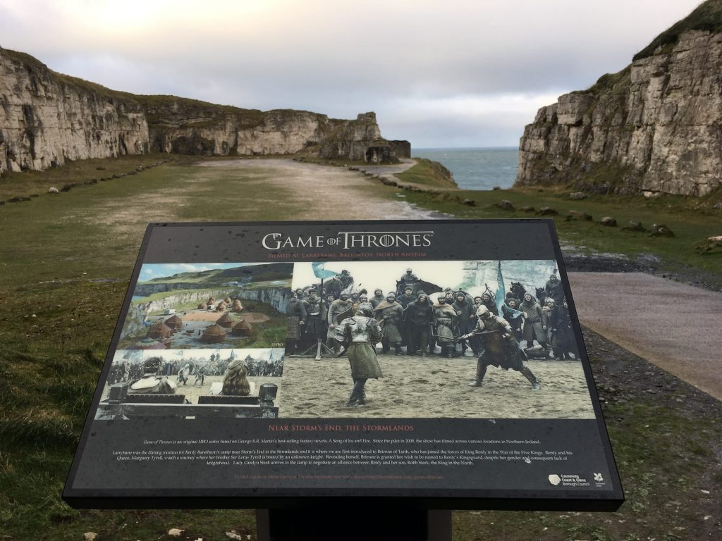 Game of Thrones filming site for Renly Barateon's camp where the first introduce of Brienne of Tarth at Larrybane Quarry, Ballycastle, Northern Ireland, UK. The picture was taken in January 2017.