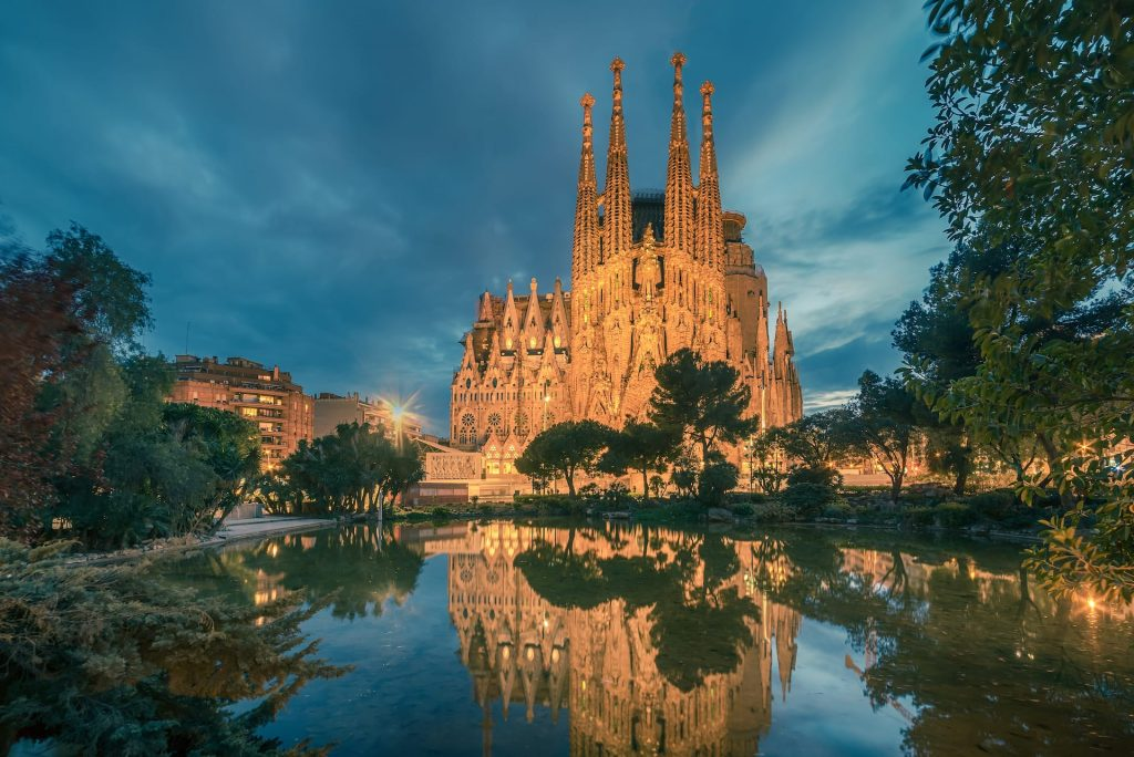 BARCELONA, CATALONIA, SPAIN - Basicila and Expiatory Church of the Holy Family, known as Sagrada Familia at sunset