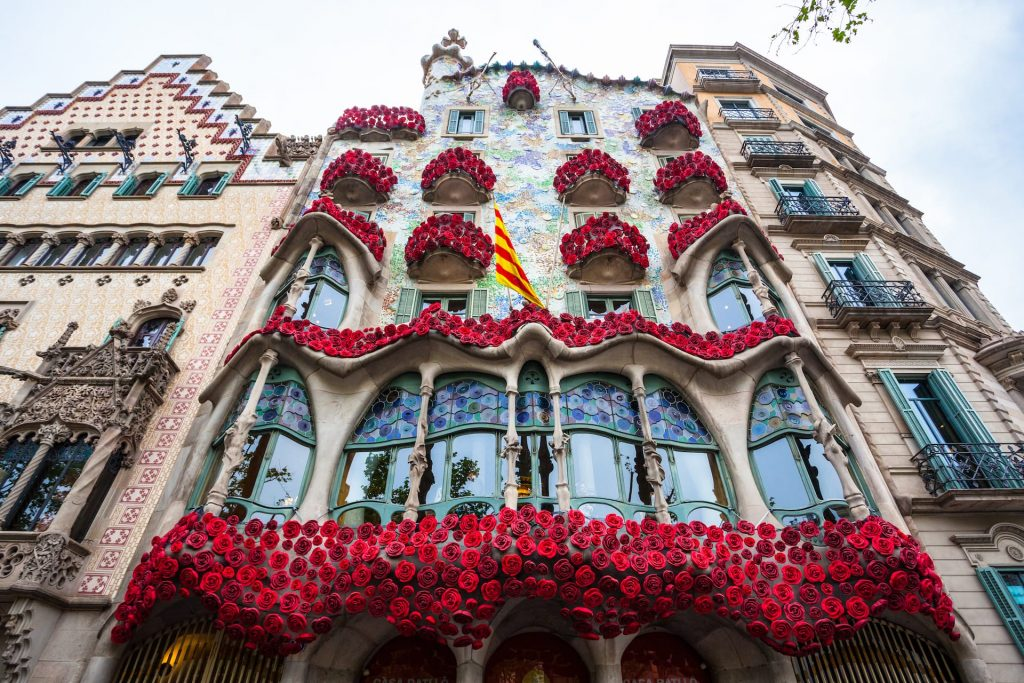 Barcelona, Spain - 24 April 2016 - Exterior View of Casa Batllo by Gaudi in Barcelona