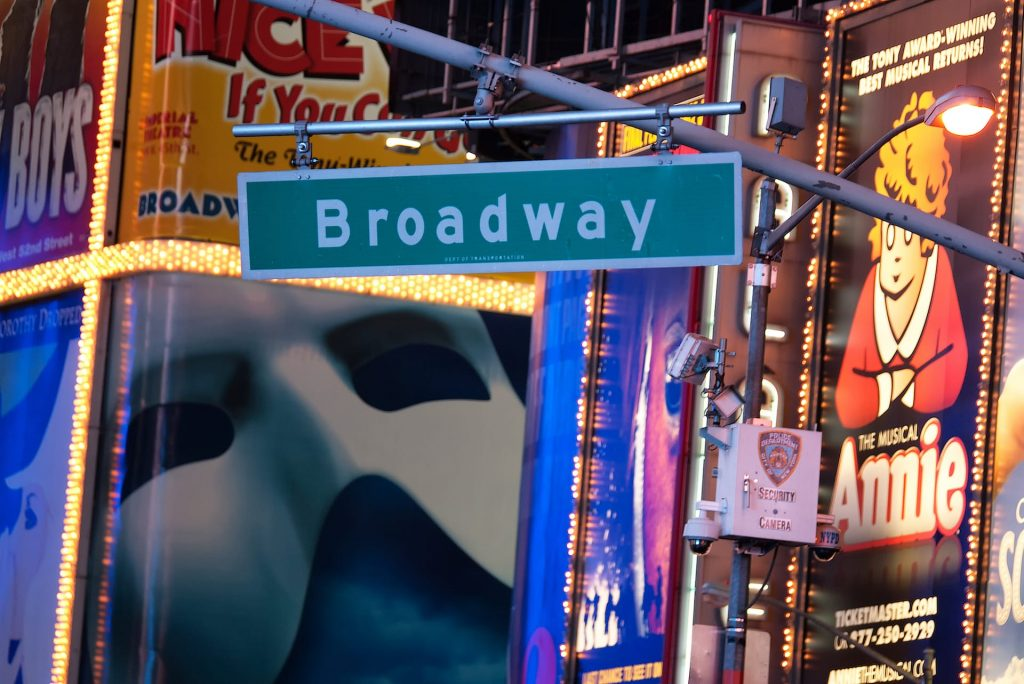 Broadway street sign backed by advertisements in Times Square in New York City.