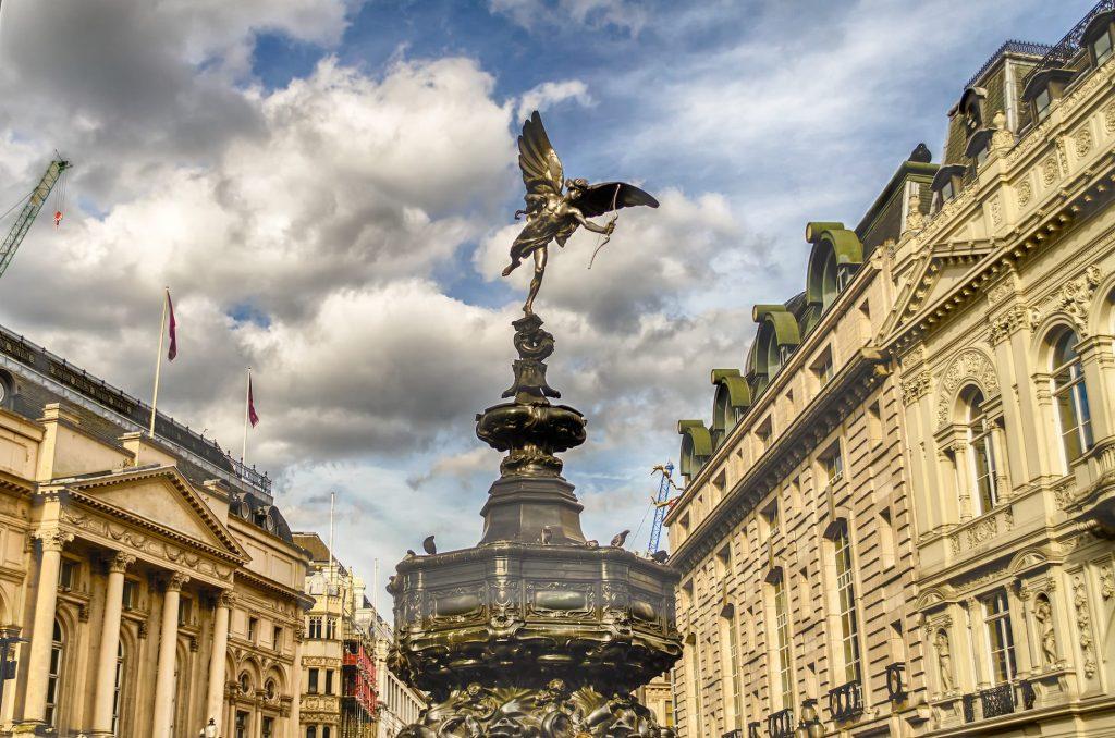 Eros Statue at Piccadilly Circus, London, UK