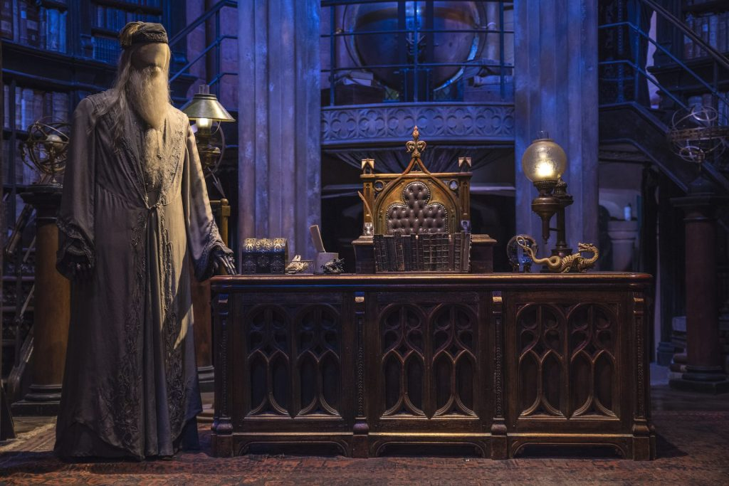 The studio set of Dumbledores Office, on display at the Making of Harry Potter Studio Tour at the Warner Bros. Studios in Leavesden, UK