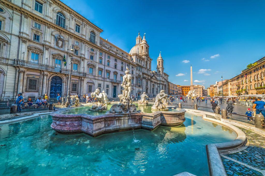 Rome Italy - Fontana del Moro in Piazza Navona