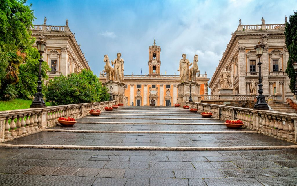 Michelangelo stairs to Capitoline square (Piazza del Campidoglio) on top of Capitoline Hill , Rome, Italy. Rome architecture and landmark. Rome cityscape