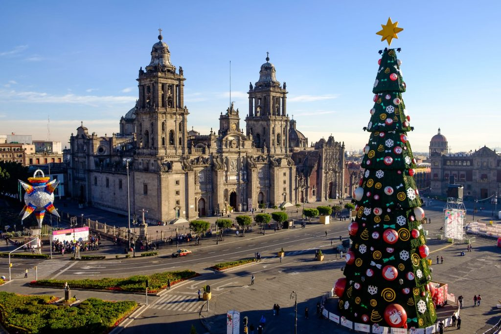 View of Zocalo, cathedral and Christmas tree in Mexico city, Mexico