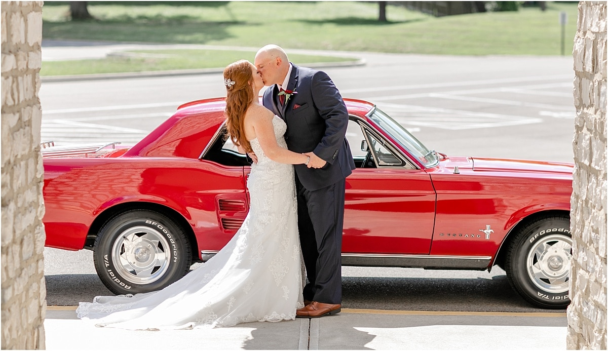 Mustang in Wedding with Bride and Groom