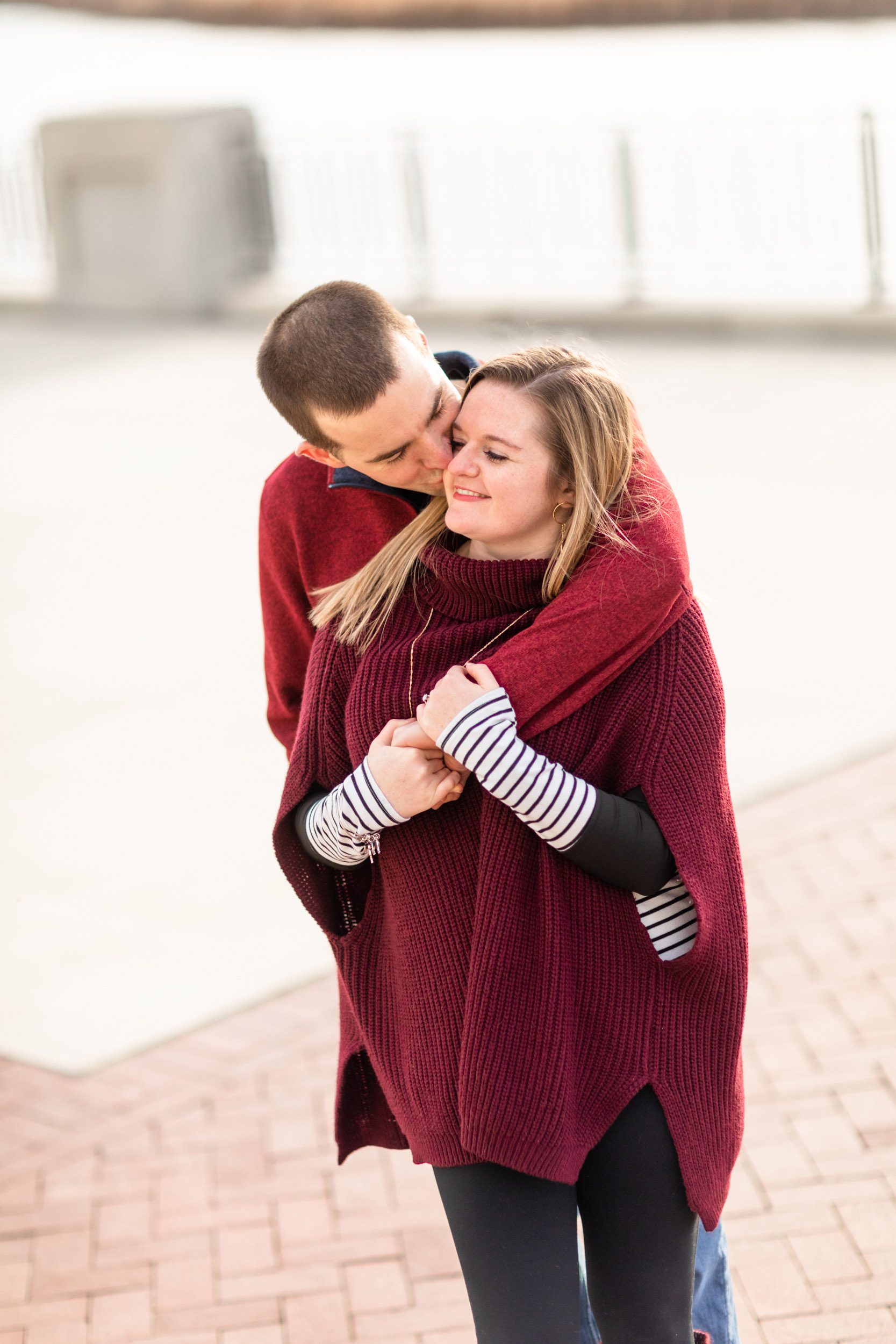 couple kissing during photosession with Curtis Wallis Photography