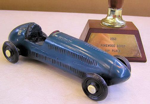 Steve Miller's blue car with trophy - 1968