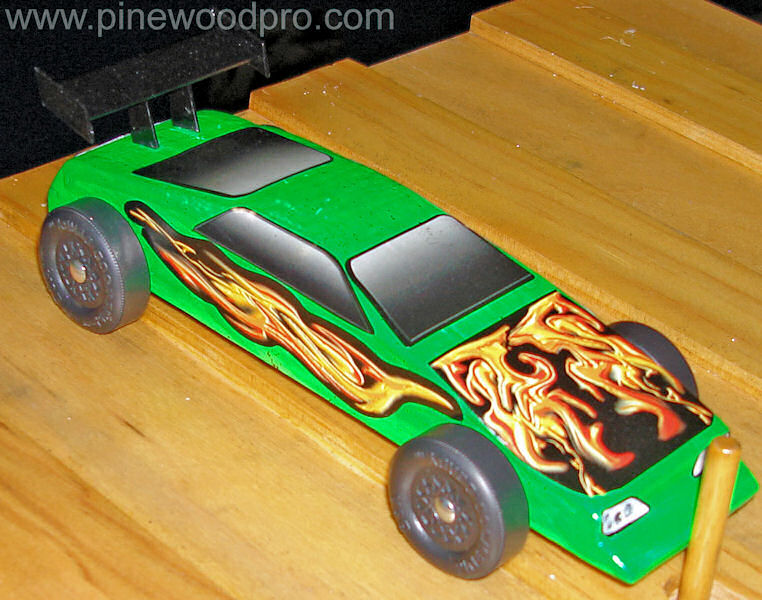 Pinewood Derby Green Flame Car