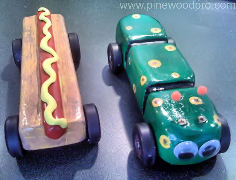 Pinewood Derby Caterpillar and Hotdog Cars