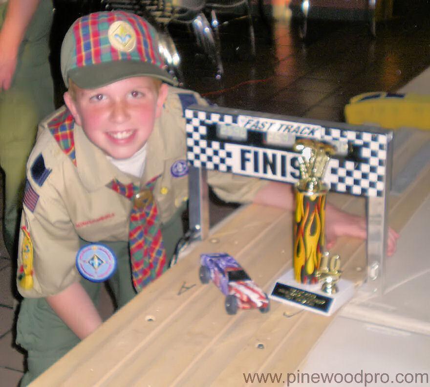 Pinewood Derby Finish Line Winner