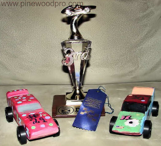 Pinewood Derby Trophy and Ribbon Winners
