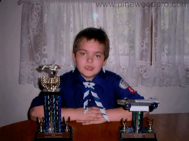 Pinewood Derby Boy Scout wins Trophies