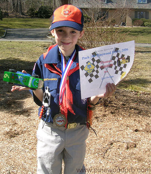 Pinewood Derby Boy Scout with Certificate