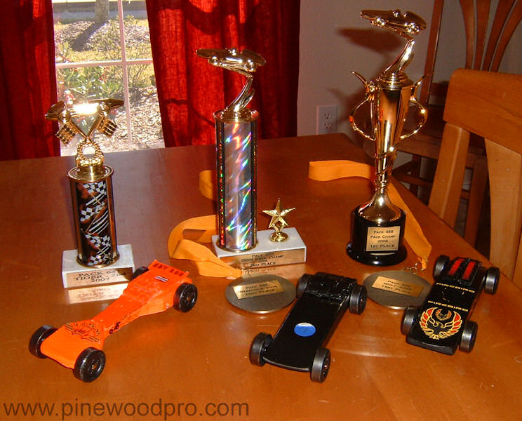 Pinewood Derby Car and Trophy Display
