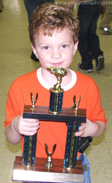 Pinewood Derby Winner with Huge Trophy