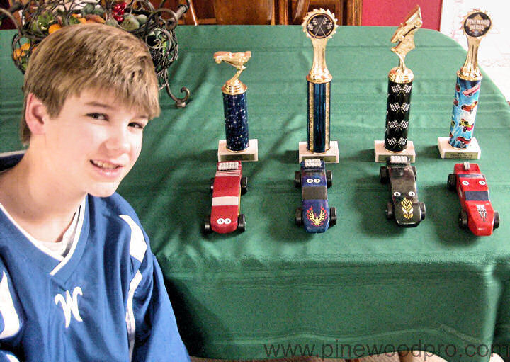 Pinewood Derby Winner 4 Cars 4 Trophies