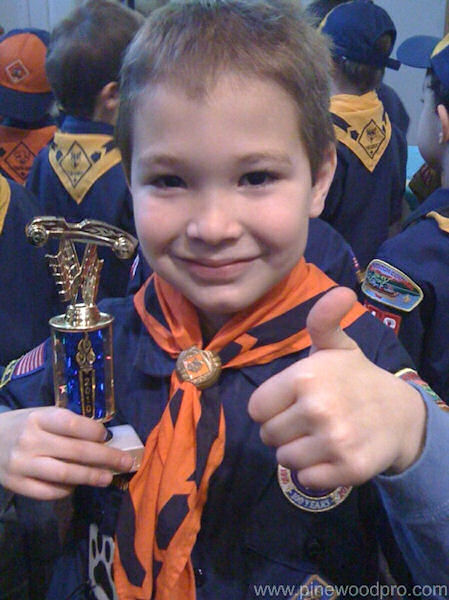 Pinewood Derby Boy Scout Thumbs Up