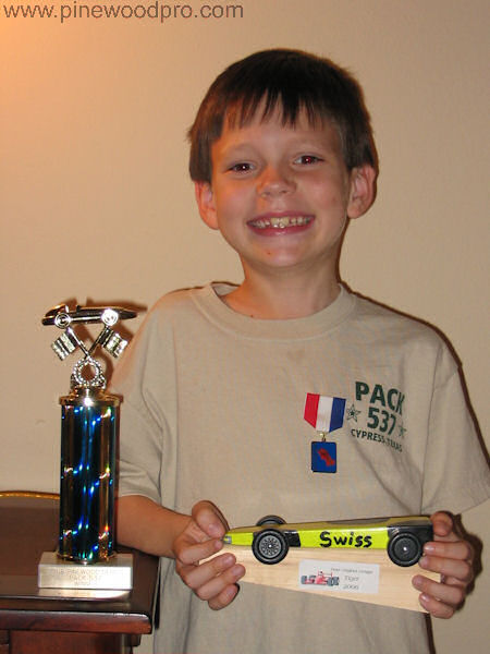 Pinewood Derby Swiss Cheese Car Winner