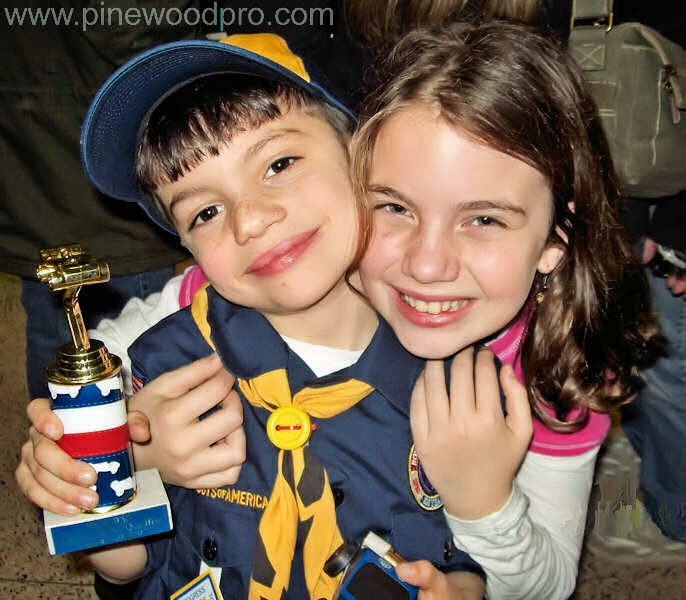 Pinewood Derby Winning Brother and Sister