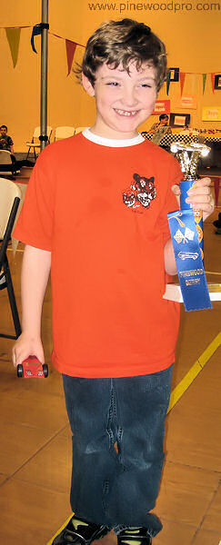 Pinewood Derby Trophy and Ribbon Winner