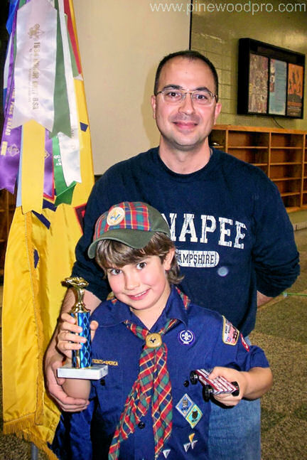Pinewood Derby Father and Son Win Trophy