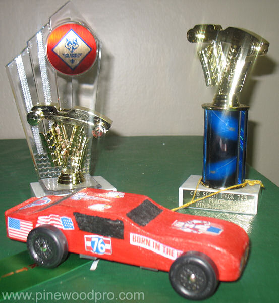 Pinewood Derby Car Design with Two Trophies