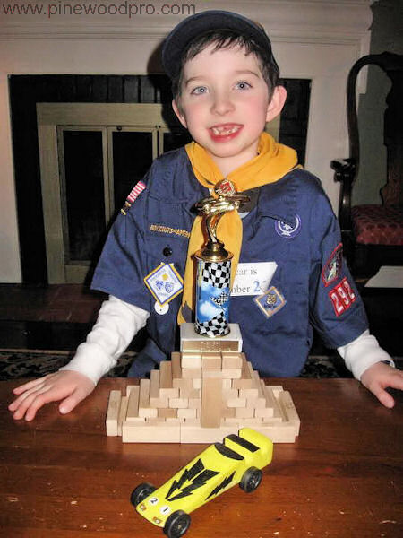 Pinewood Derby Winner with Car