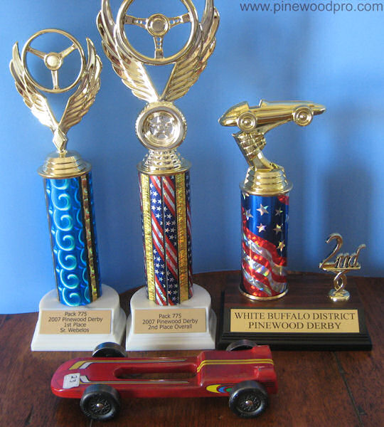 Pinewood Derby Car with Trophies