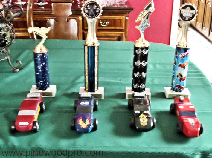 Pinewood Derby Trophies and Cars