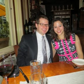 Having dinner at a wedding with Amie.