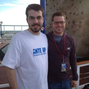 Garrett and I at a wall climb on a cruise ship