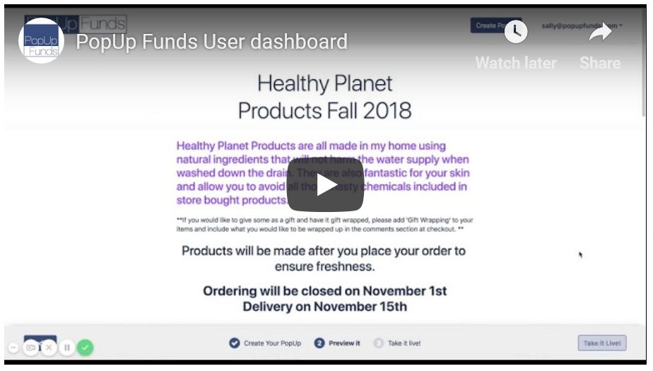 PopUp Funds Dashboard