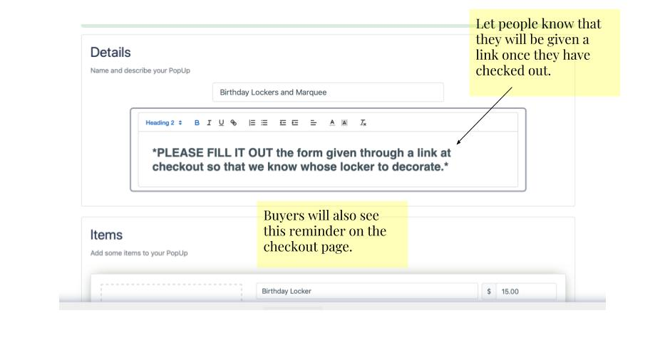 Collect More Information for your PopUp with Google Forms