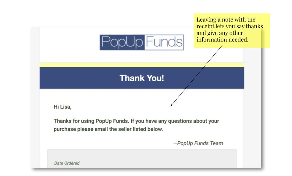 Use the extras section to raise money