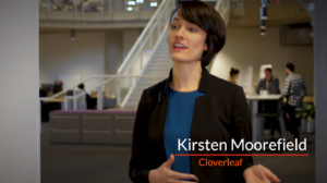 Kirsten Moorefield, co-founder of Cloverleaf, mid conversation