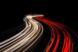 Quick-travel shot of highway traffic