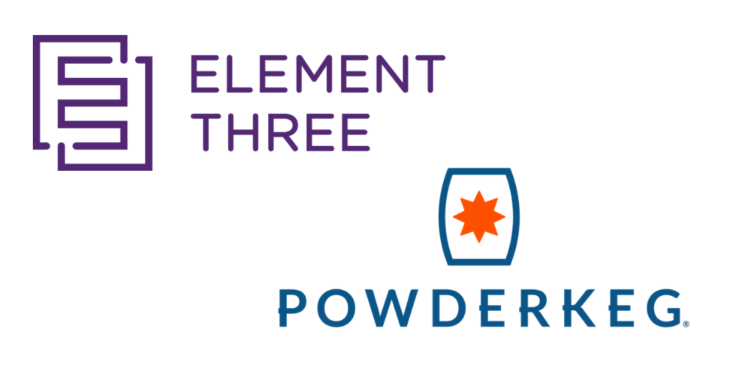 Element Three and Powderkeg logos