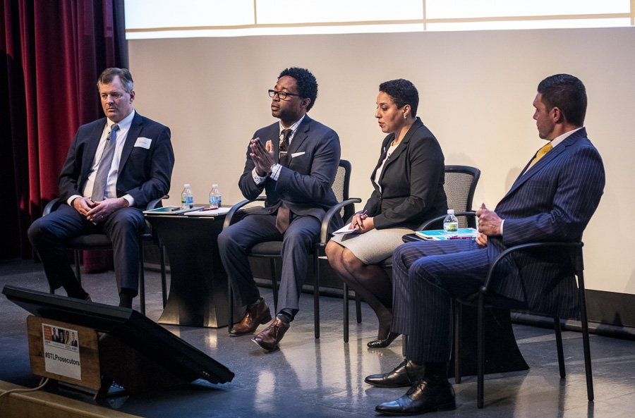 (Left to Right) Jeff Jensen, the U.S. District Attorney for the Eastern District of Missouri, Wesley Bell, the Prosecuting Attorney for St. Louis County, Kim Gardener, Circuit Attorney for the city of St. Louis, and Tim Lohmar, Prosecuting Attorney for St. Charles County at the History Museum durring FOCUS St. Louis' #STLProsecutors event. Photo by Chuck Ramsay www.chuckramsay.com