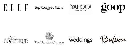 ELLE, The New York Times, Yahoo Lifestyle, Goop, Coveteur, Harvard Crimson, Weddings, PureWow