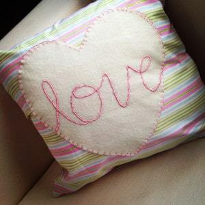 Pink hand embroidered love cushion (13)
