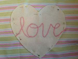 Pink hand embroidered love cushion (9)