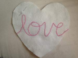 Pink hand embroidered love cushion (7)